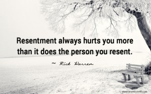 Resentment always hurts you more than it does the person you resent. Quote by Rick Warren, with art showing a park bench by a tree and water.