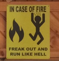 """In case of fire, freak out and run like hell."""