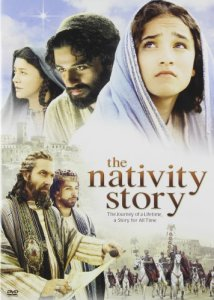 The movie jacket of The Nativity Story shows the main actors,--Joseph, Mary, Herod, Herod's son, and a star and Roman soldiers on white horses in the background.