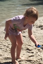 Little girl in purple shorts and t-shirt bends over with blue shovel to find shells.