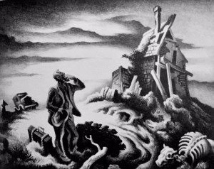 In black and white ink, Benton shows a prodigal returning to an empty, run down home, with a cow skeleton in the lower right foreground.