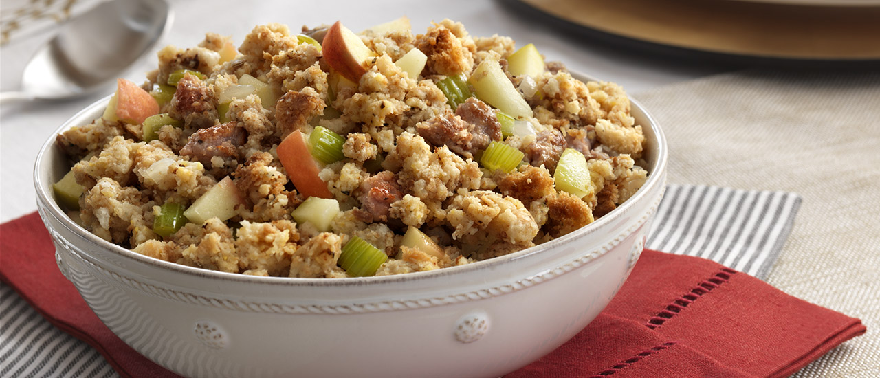 Sausage   Apple Stuffing Recipe   Campbell s Kitchen Sausage   Apple Stuffing