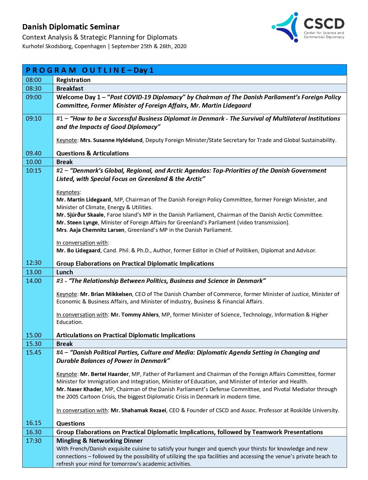 Program Danish Diplomatic Seminar