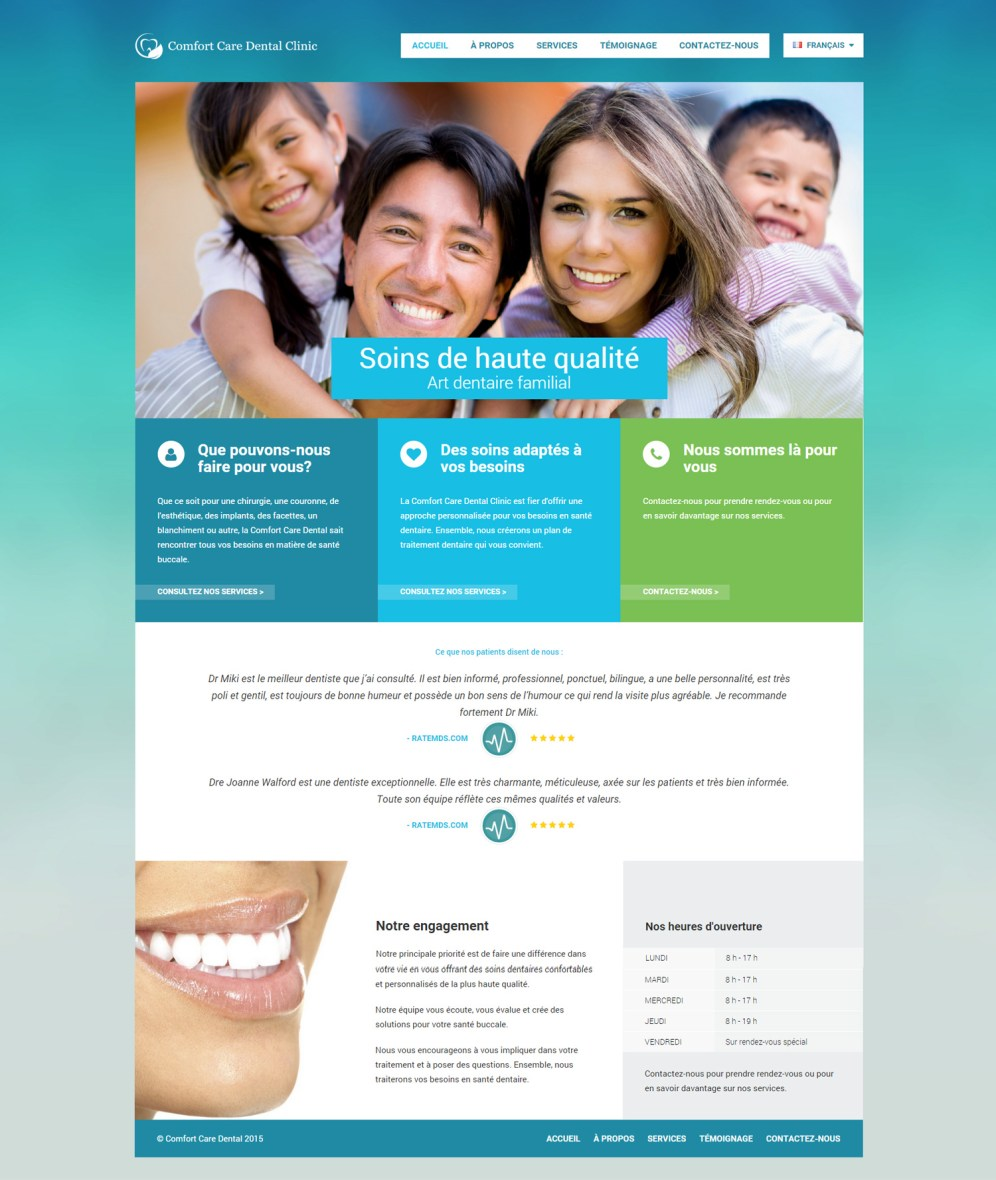 Comfort Care Dental Homepage