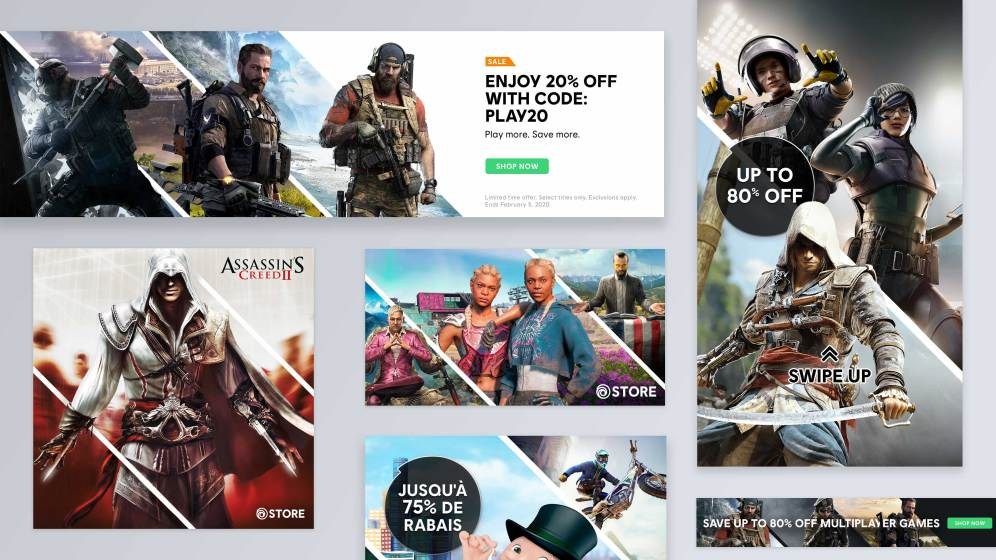 Ubisoft Store banner examples: home hero and social media images.