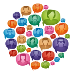 colorful illustration of people in word bubbles