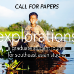 "Boy paddles boat in lake; image text reads ""call for papers, explorations: a graduate student journal for southeast asian studies"""