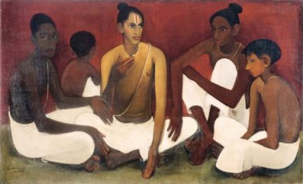"""Brahmacharis"" (1937), oil on canvas, by Amrita Sher-Gil"