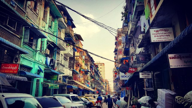 colorful and crowded Southeast Asian street