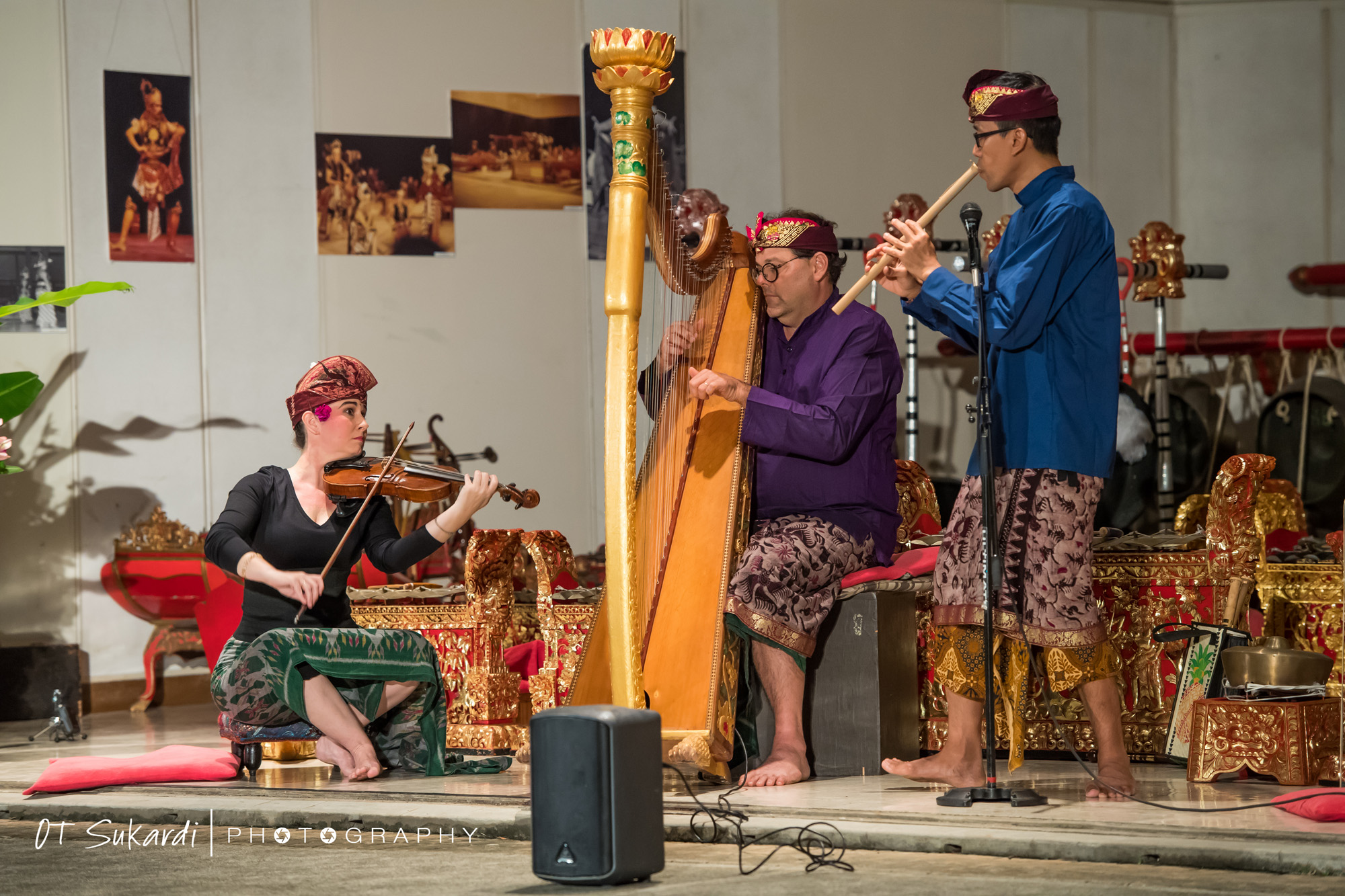 performers playing flute, harp, and violin
