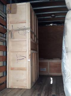 crates in moving truck