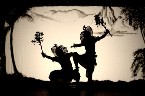 Subali and Sugriwa, two principal characters, in shadow relief