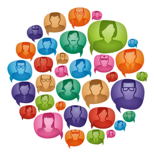 Clip are of faces in multi-color talk ballooons.