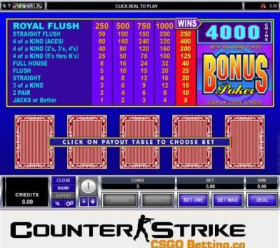 CS GO Bonus Poker Video Poker Games