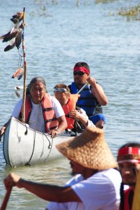 Activists on the Missouri River near Cannon Ball, ND - photo by C.S. Hagen