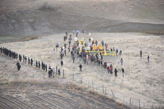 Law enforcement verses activists on Dakota Plains Oct. 22 - photo provided by Morton County Sheriff's Department