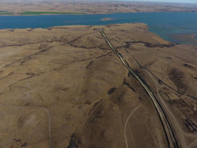 DAPL pipeline and drillpad at Missouri River at Lake Oahe - photo provided by Myron Dewey