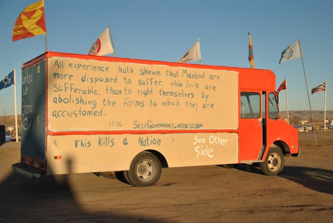 Vehicle at Oceti Sakowin - photo by C.S. Hagen