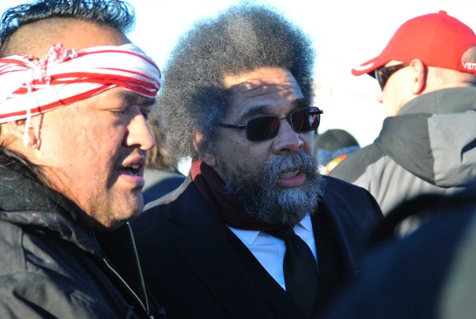 Dr. Cornel West at Standing Rock. West is an American philosopher, political activist, social critic, author, public intellectual, and prominent member of the Democratic Socialists of America - photo by C.S. Hagen