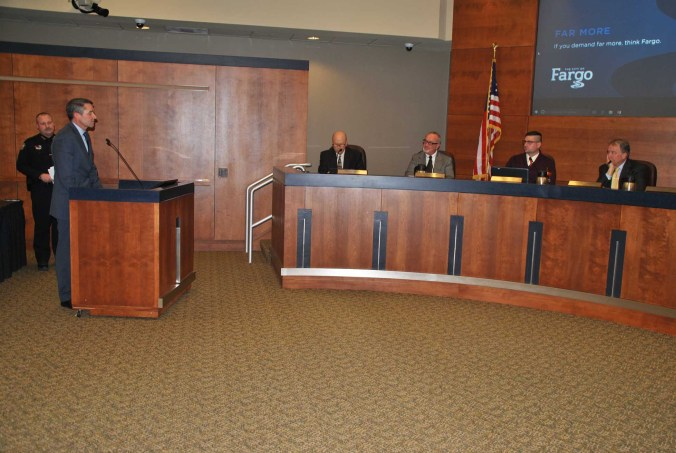 Fargo Police Chief David Todd speaking before mayor and city commissioners about Fargo Police involvement in No DAPL controversy in Morton County - photo by C.S. Hagen