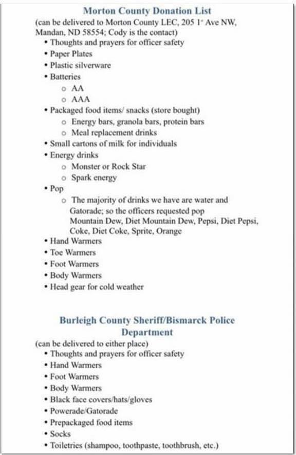 Morton County Sheriff's Department winter donation list