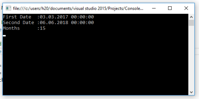 Calculate The Difference in Months Between Two Dates in C#