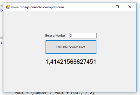 Calculate Square Root Without Using Math Sqrt in C# – C#