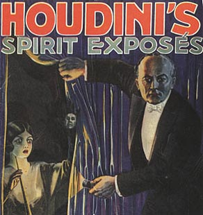 The cover of a 1928 booklet detailing Houdini's spirit exposés.