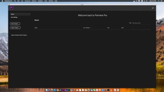 Tampilan awal Adobe Premiere Pro CC 2019