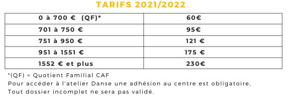 Tarifs 2021/2022