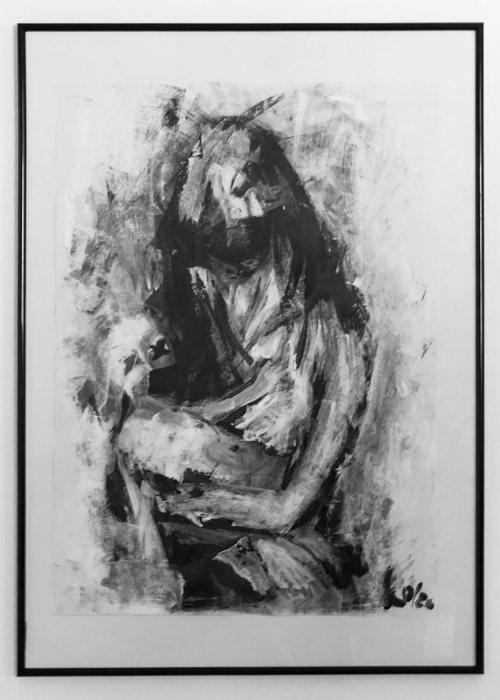 Mutter mit Kind - Acryl auf Fotokarton