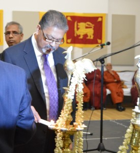 CSLBC Vice President Ganesan Sugumar lighting the traditional oil lamp