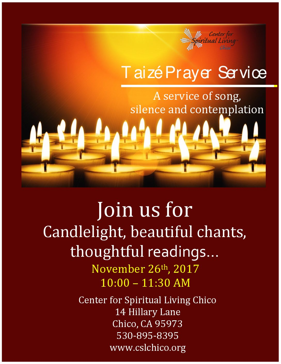 Taize Prayer Service Center For Spiritual Living Chico