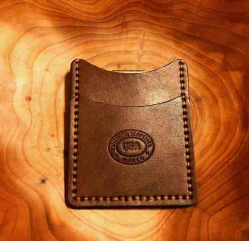 Front Pocket Wallet by Crimson Serpents Leather Goods in Brown with Havana stictching.