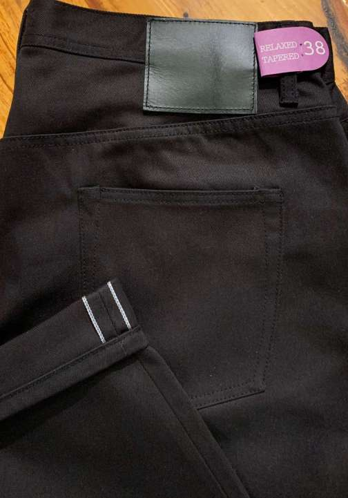Unbranded UB655 relaxed tapered 12.5 oz black selvedge chino.