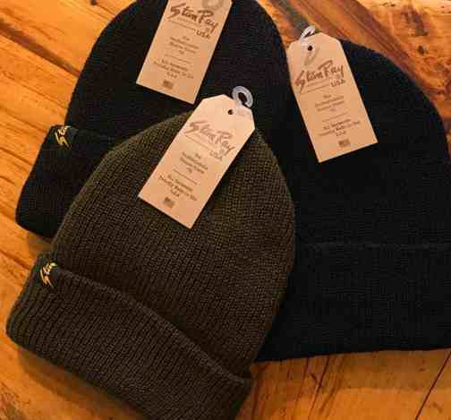 Stan Ray wool watch caps in olive, black, and navy.