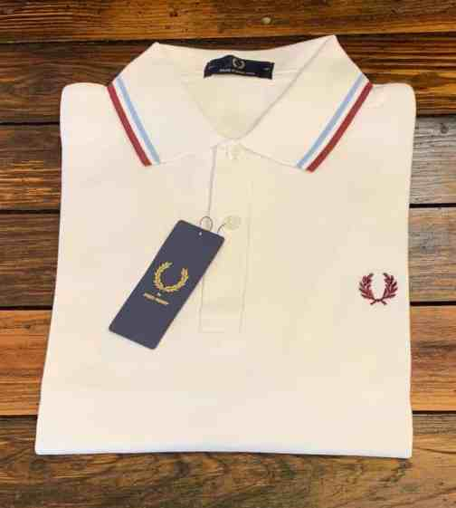 Fred Perry M12 White/Ice/Maroon Polo Shirt.