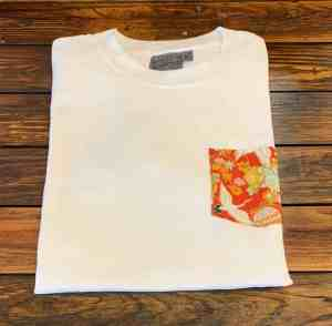 Naked and Famous Denim White Pocket Tee with Japan Tsuru Festival pattern.