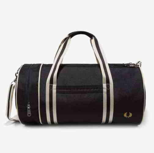 Fred Perry L5400 Black Twin Tipped Barrel Bag. Front view.