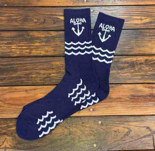 The Ampal Creative Aloha Socks in Navy.