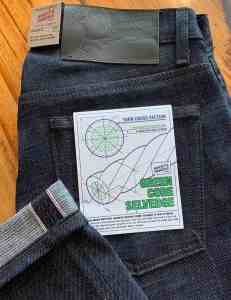 Naked & Famous Denim Weird Guy Green Core Selvedge Jeans.
