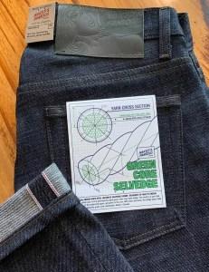 Naked & Famous Denim Weird Guy Green Core Selvedge Jeans.
