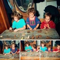 Nemes-Jeles lányok és Székely Viola agyagoznak az Alkotóházban