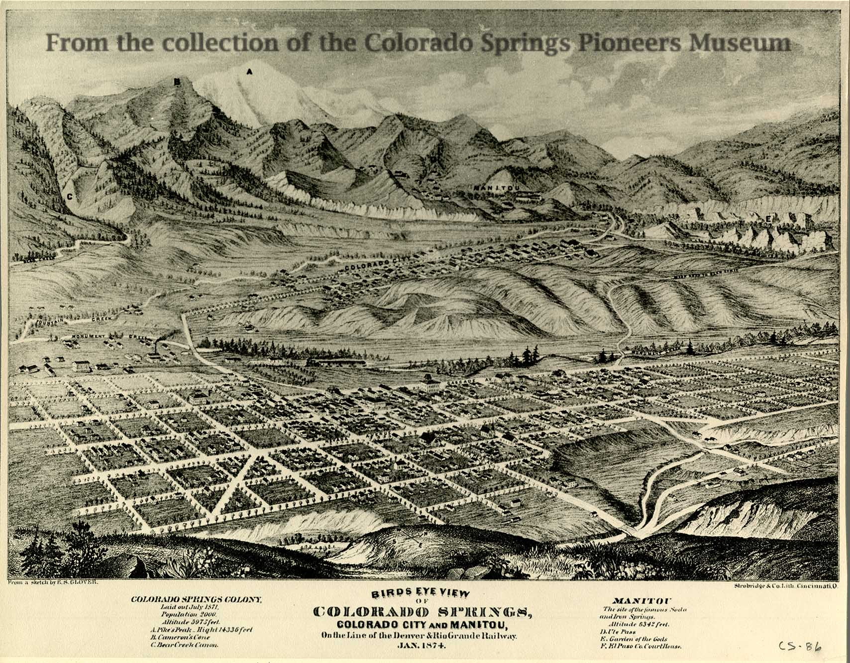 Map and Blueprint Collections   Colorado Springs Pioneers Museum Birdseye view of Colorado Springs 1874 by ES Glover