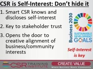 CSR is Self-Interest - Don't try to hide it