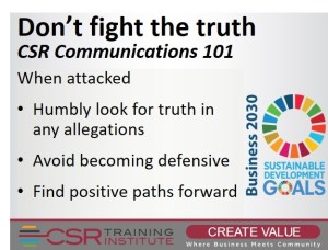 CSR Communications 101: You won't win a fight against the truth