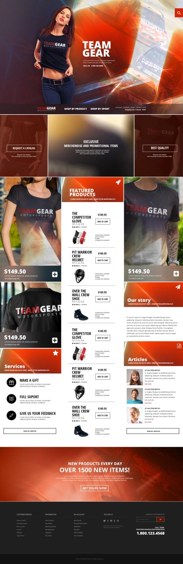 Team Gear - Online shop template Бесплатные шаблоны для интернет-магазина psd - Team Gear Online shop template - Бесплатные шаблоны для интернет-магазина PSD