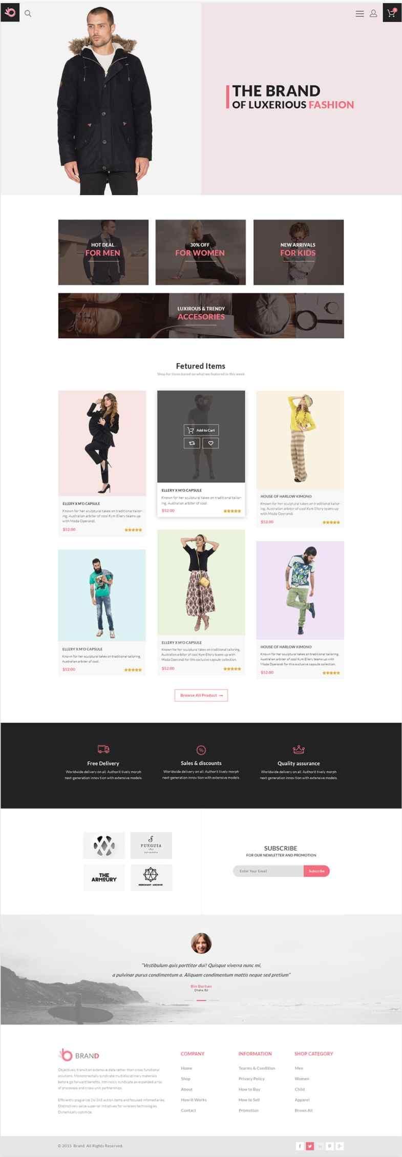 Brand - Free Fashion Store Template PSD Бесплатные шаблоны для интернет-магазина psd - Brand - Бесплатные шаблоны для интернет-магазина PSD