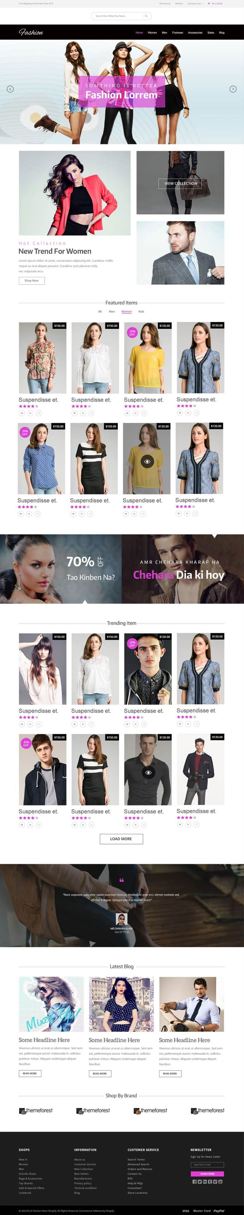 E commerce Fashion Template PSD