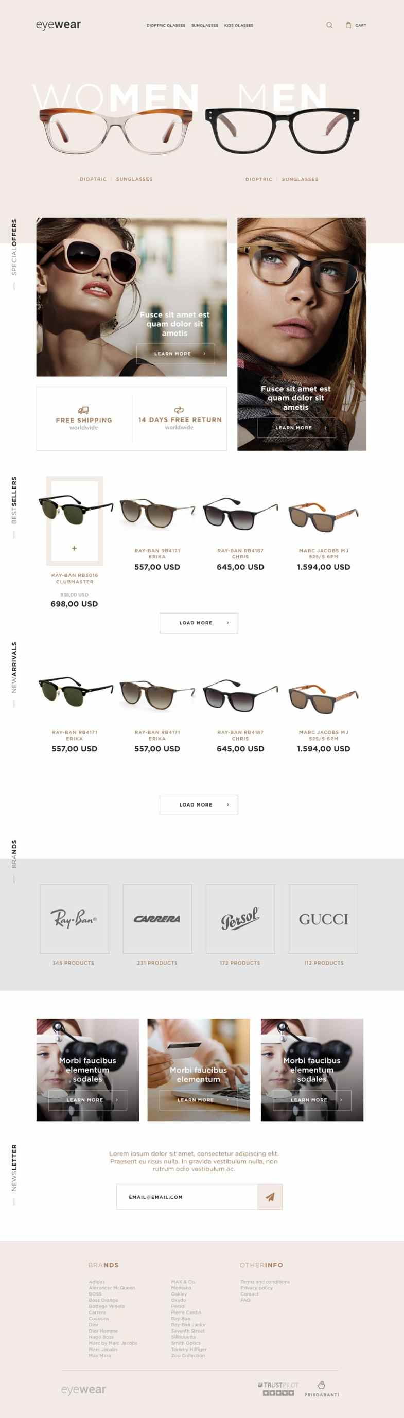 Eyewear E commerce Web Template PSD Бесплатные шаблоны для интернет-магазина psd - Eyewear E commerce Web Template PSD - Бесплатные шаблоны для интернет-магазина PSD